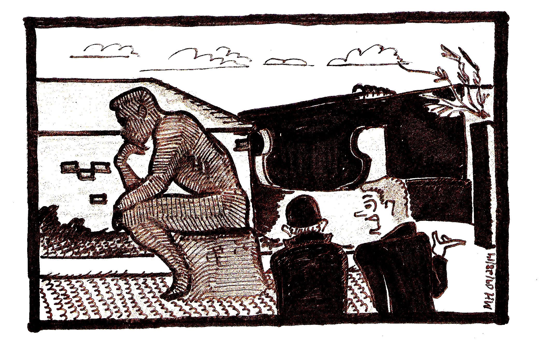a LU-Nagram Statue Cartoon