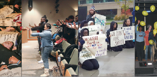 Students participate in demonstrations and campus events celebrating diversity and asserting the need for change in the Lawrence community.