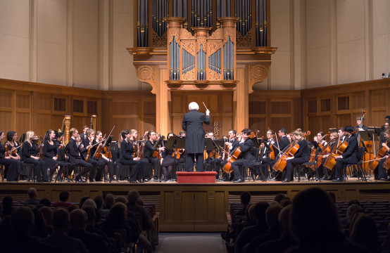 The Lawrence University Symphony Orchestra performs in the chapel on Saturday, Jan. 23 under Thom Ritter George's conduction.  Photo by Veronica Bella