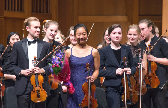"Senior Sophie Yang receives a standing ovation for her solo work in ""Concerto for Violin in D minor, Allegro moderato,"" by Sibelius. Photo by Veronica Bella"