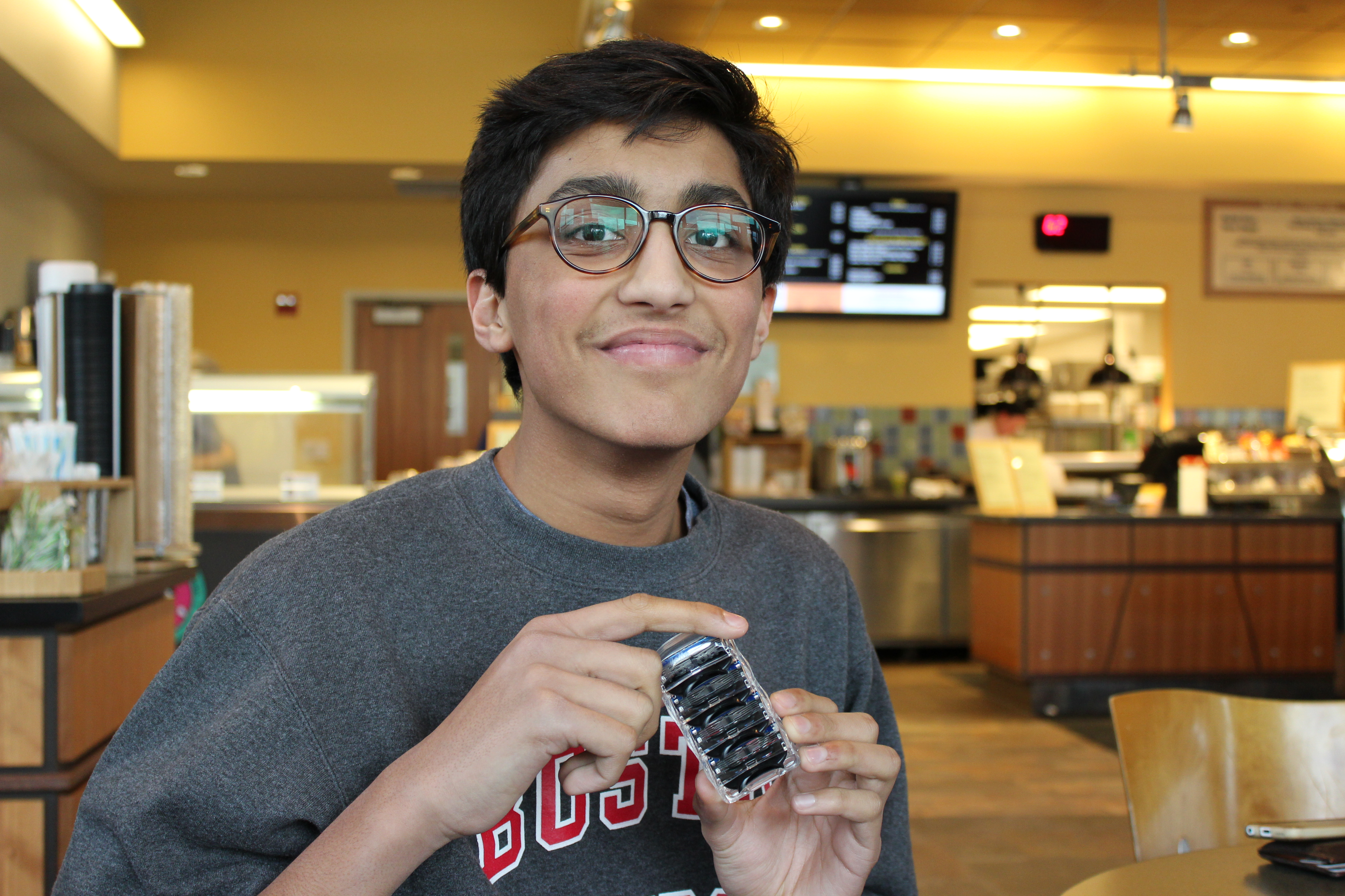 """I brought it back with me when I got home,"" said sophomore Anmol Gupta, holding a three pack of razors."
