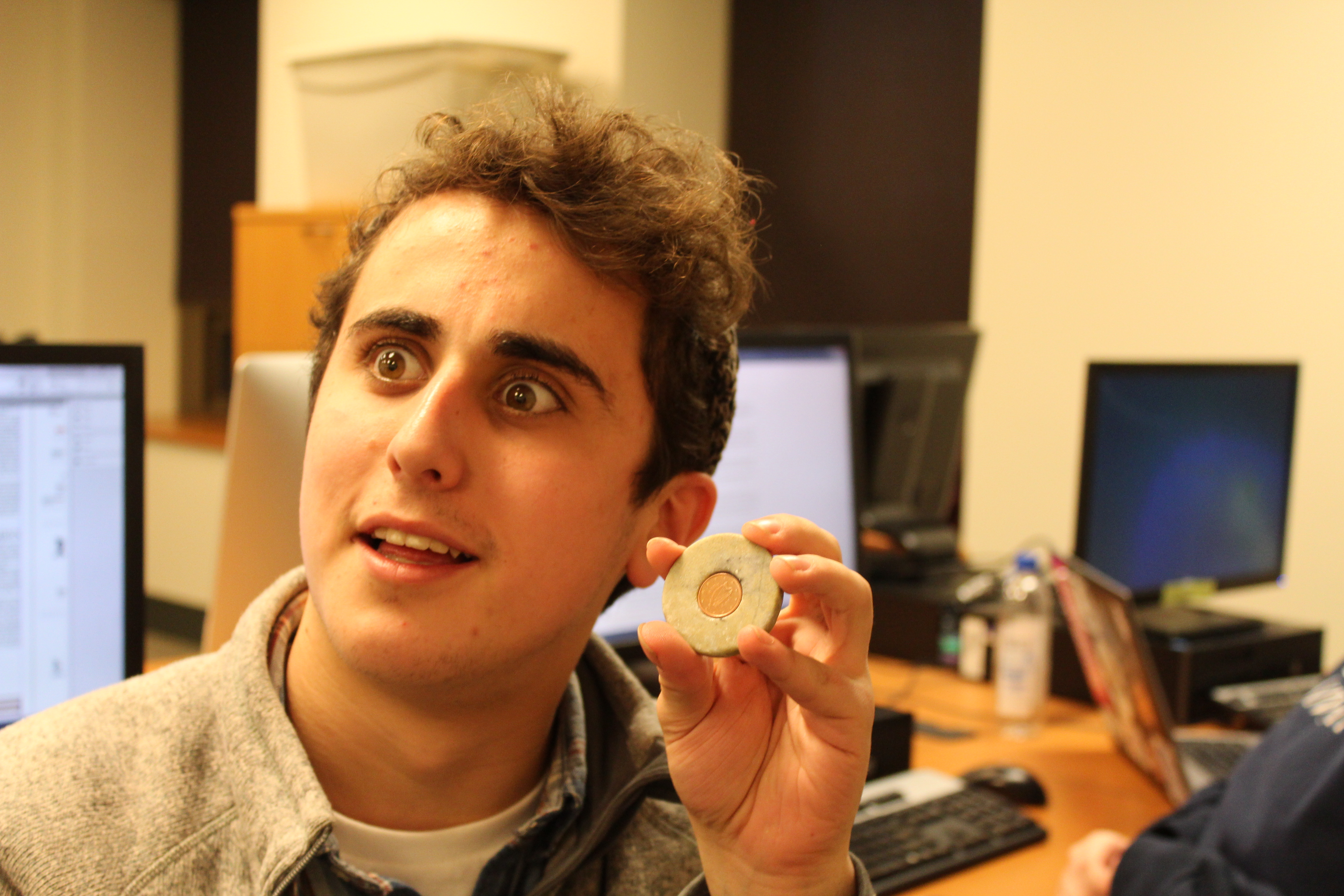 """My sister brought it back for me from Ireland. I keep it in my backpack,"" said freshman Jonathon Rubin, holding an Irish coin encased in a small stone."