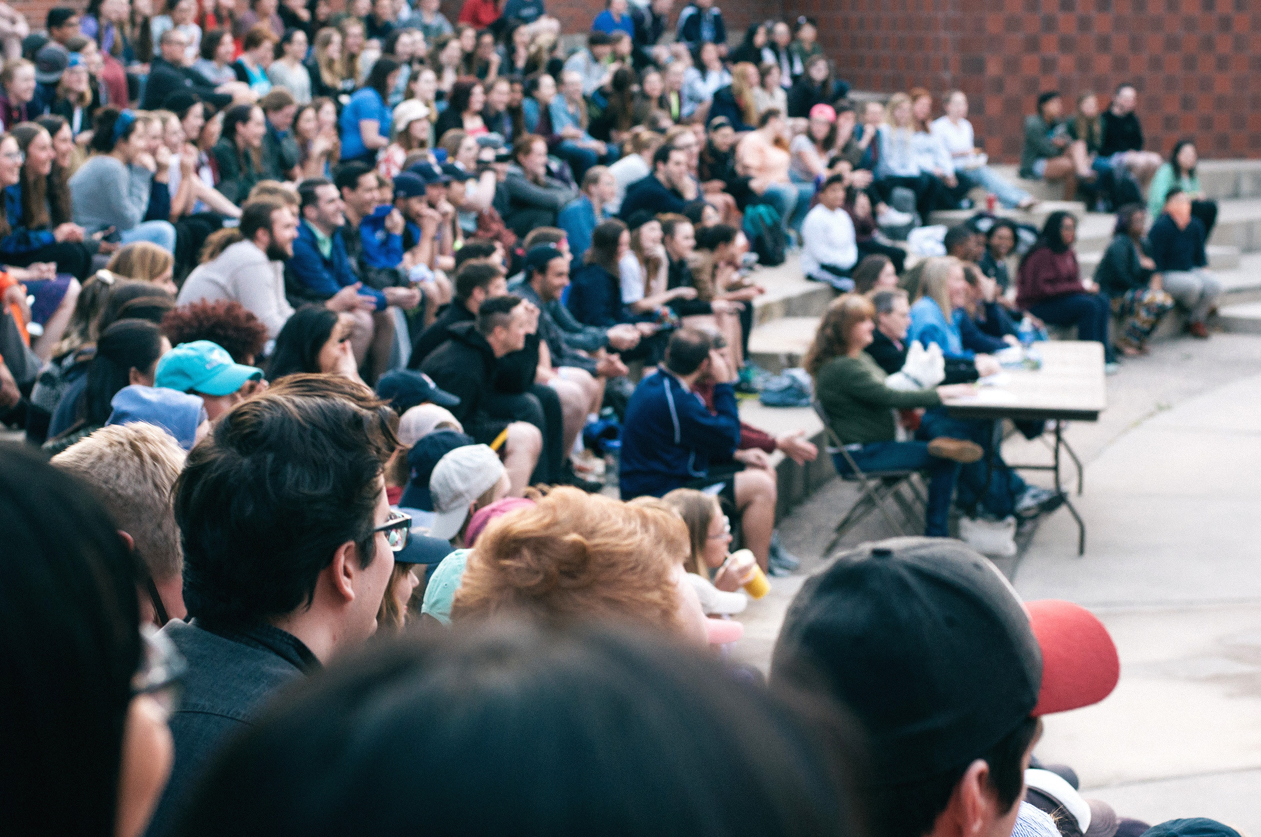 Students fill the Wriston Amphitheater to watch the Lip Sync competition.