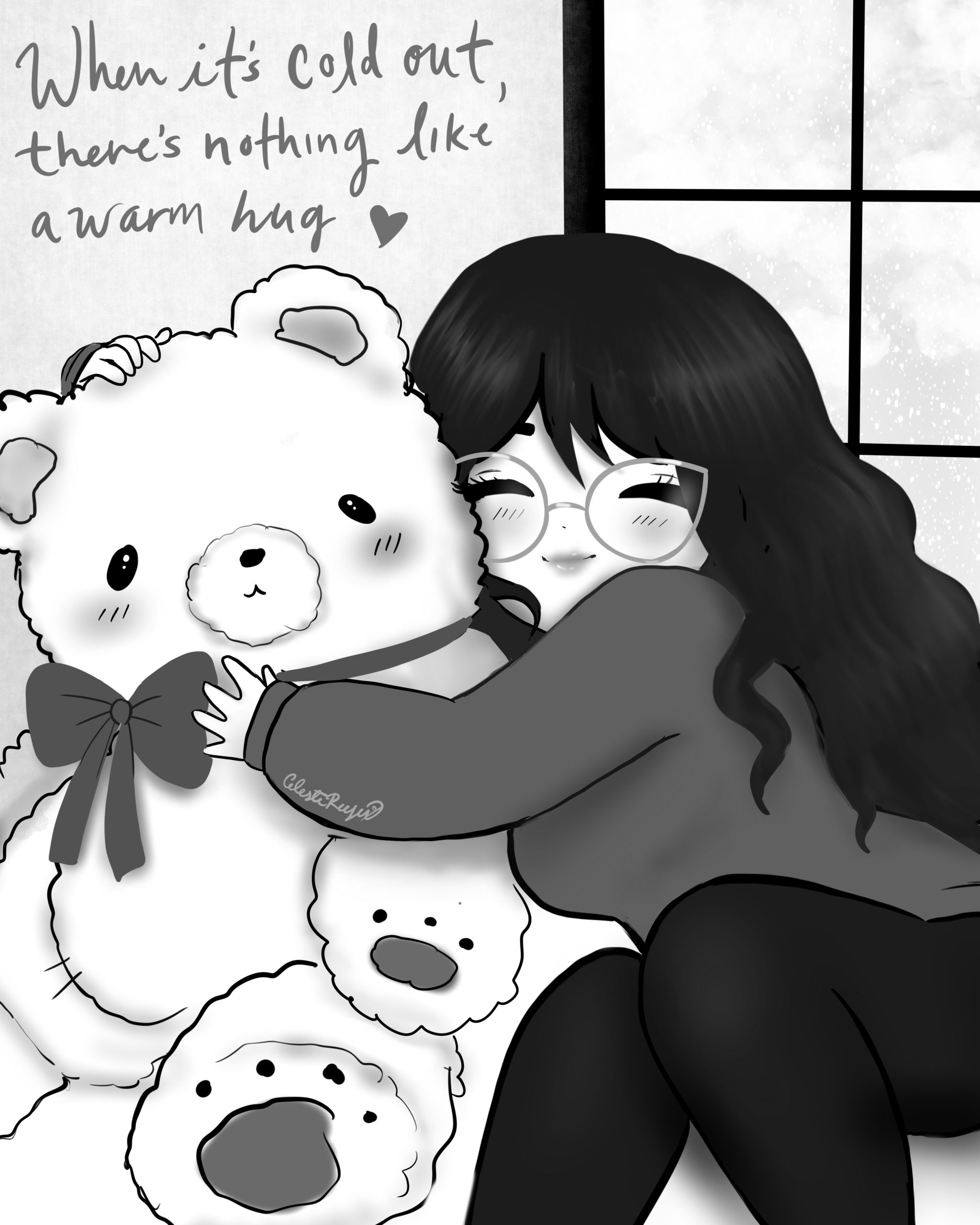 "Drawing of girl hugging stuffed bear that says ""when its cold out, there's nothing like a warm hug [heart drawing]"""