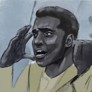 Drawing of Black man with hand raised to head and mouth open.