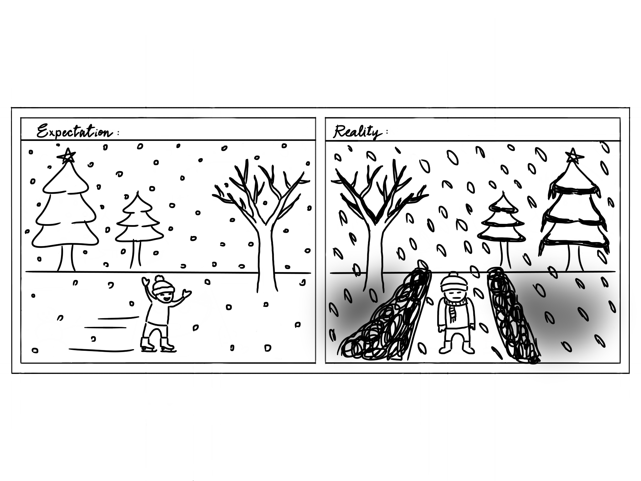 Comic of the expectation of winter, happy skating, vs the reality, cold and gray.